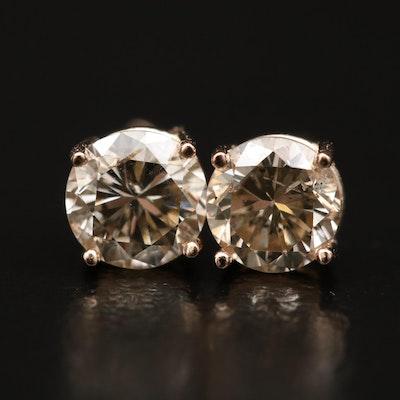 14K Gold 0.88 CTW  Diamond Stud Earrings