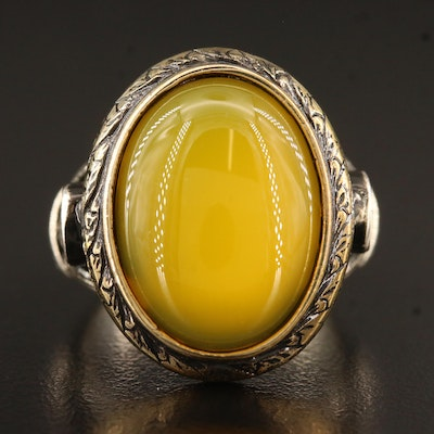 Sterling Silver Chalcedony Ring with Scrolling Detail