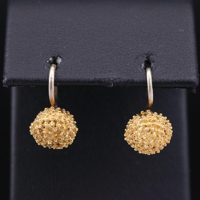 Textured Ball Drop Earrings