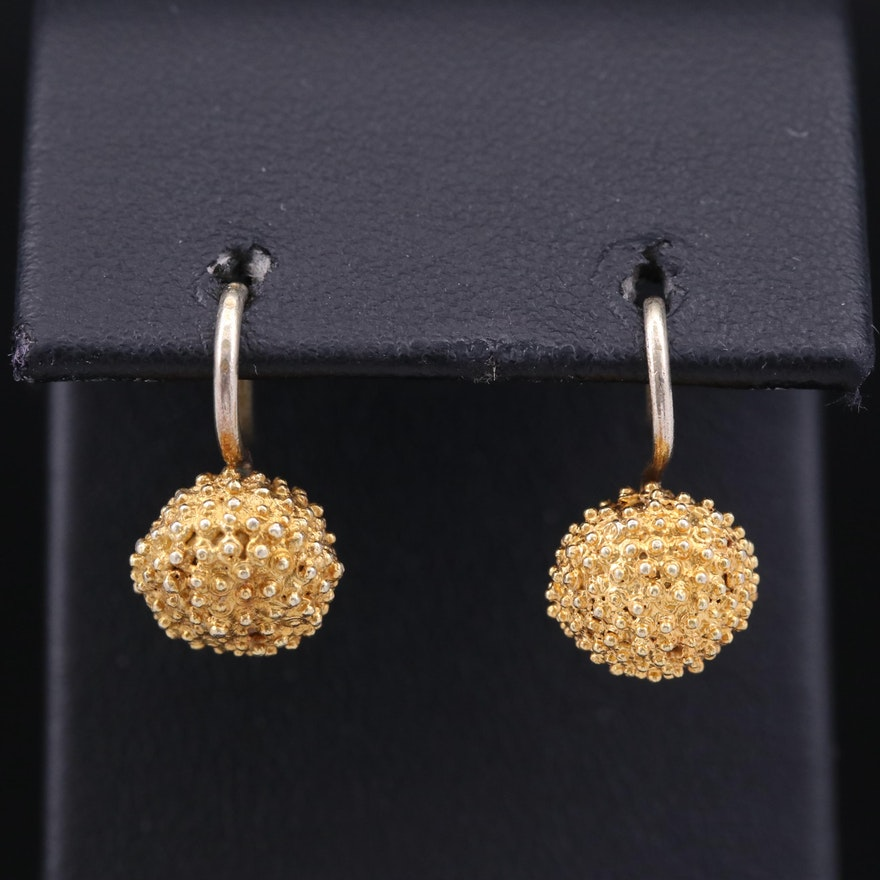 Textured Ball Drop Earrings
