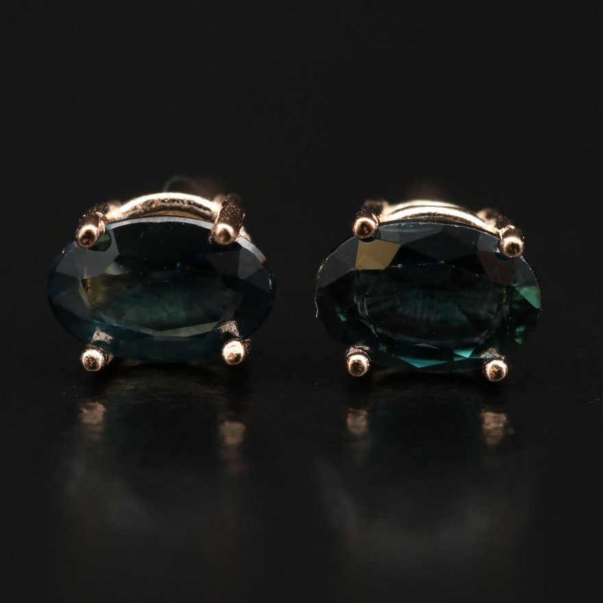 14K Rose Gold Sapphire Stud Earrings