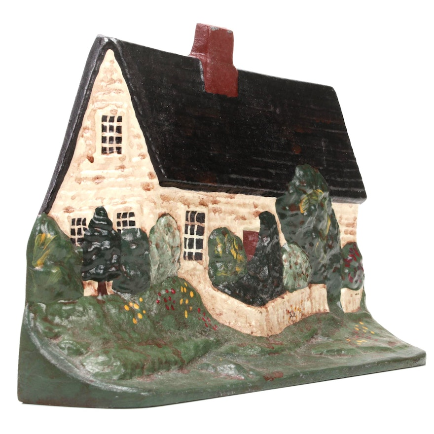 Cast Iron Enameled Cape Cod Cottage Door Stop