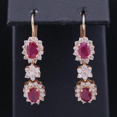 14K Ruby and 1.36 CTW Diamond Dangle Earrings