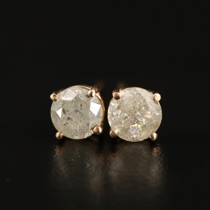 14K 1.18 CTW Diamond Stud Earrings
