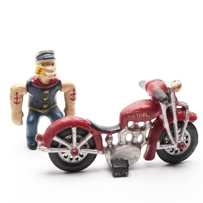 "Cast Iron ""Popeye the Sailor"" and Motorcycle Figurine, Mid-20th Century"