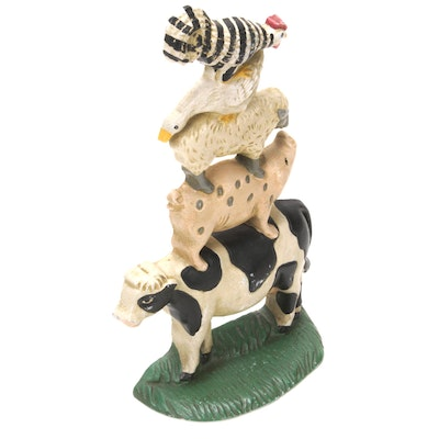 Cast Iron Stacked Barnyard Chicken, Goose, Sheep, Pig, and Cow Doorstop