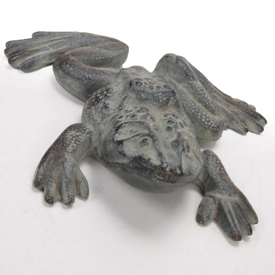 Cast Metal Garden Frog Doorstop with Verdigris Finish