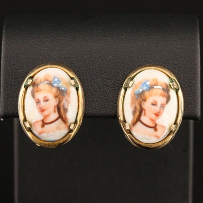Vintage French Limoges Porcelain Portrait Clip Earrings
