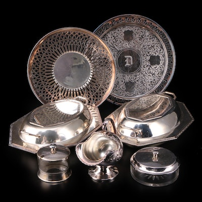 Sheffield Silver Co. Covered Vegetable Dish and Other Silver Plate Serveware