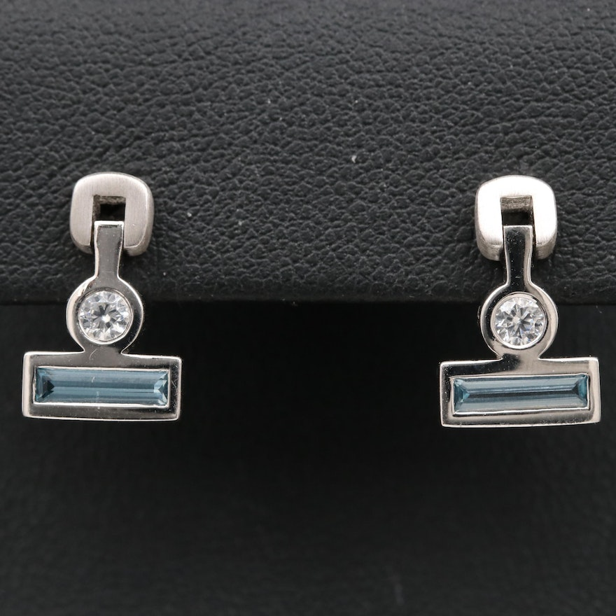 Sterling Spinel and Cubic Zirconia Dangle Earrings