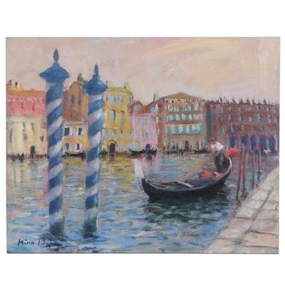 "Nino Pippa Oil Painting ""Mooring Posts - Venice"", 2016"