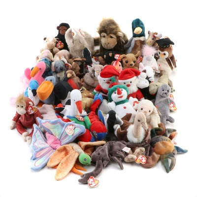 Derby, Pinky, Santa, Claude, and Other Beanie Babies and Buddies Stuffed Toys