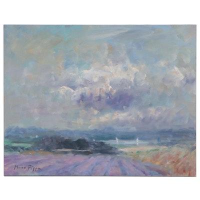 """Nino Pippa Oil Painting """"In Van Gogh Footsteps - Rhone Valley,"""" 2012"""
