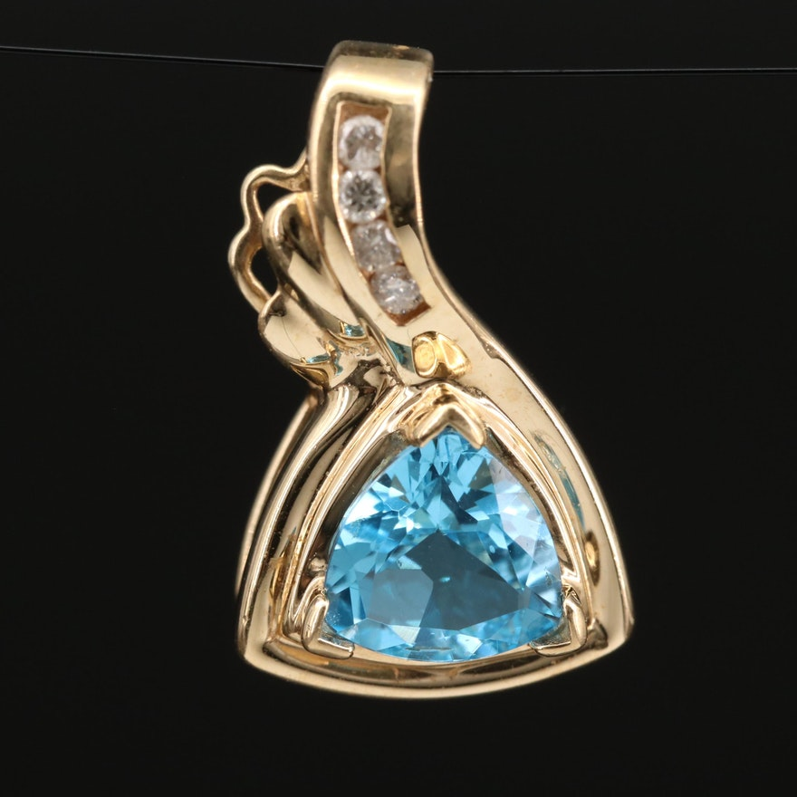 14K Topaz and Diamond Enhancer Pendant
