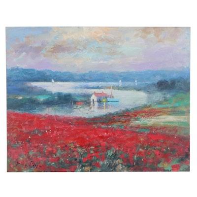 "Nino Pippa Oil Painting ""Provence - Twilight on the Rhone"", 2017"