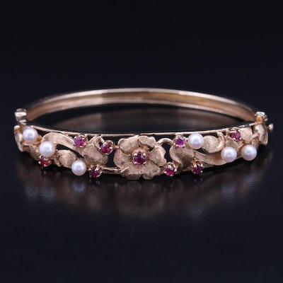 14K Pearl and Ruby Floral Motif Hinged Bangle