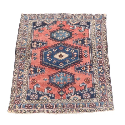 4'10 x 6'10 Hand-Knotted Persian Yalameh Wool Rug