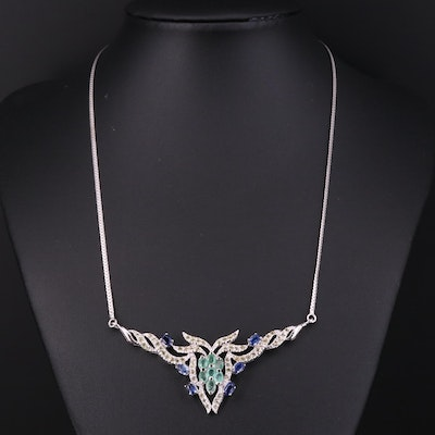 Sterling Silver Kyanite, Emerald and Sapphire Stationary Pendant Necklace