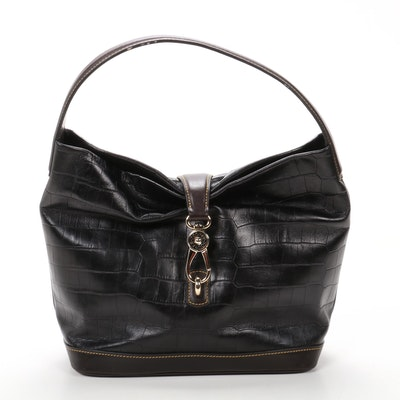 Dooney & Bourke Bucket Bag in Crocodile Embossed Black Leather