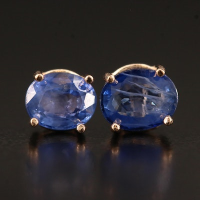 14K Rose Gold Blue Sapphire Stud Earrings
