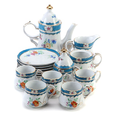 Chinese Limoges Floral Porcelain Play Tea Set, Mid to late 20th Century