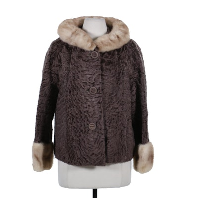 Broadtail Lamb Fur Jacket with Pastel Mink Fur Trim, Mid-20th Century