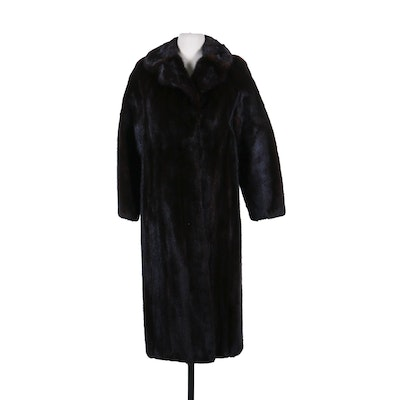 Mink Fur Coat with Notched Collar, Vintage