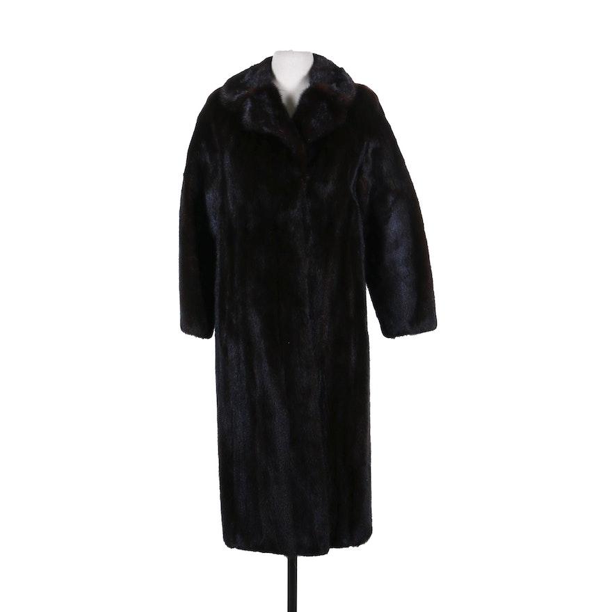 Mink Fur Coat with Notched Collar, Vintage