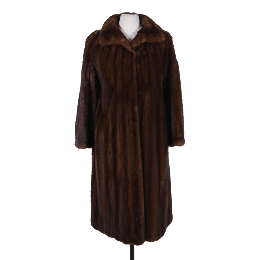 Emilio Gucci Light Mahogany Mink Fur Full-Length Coat with Banded Cuffs