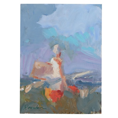 Sally Rosenbaum Oil Painting of Abstract Figure, 21st Century