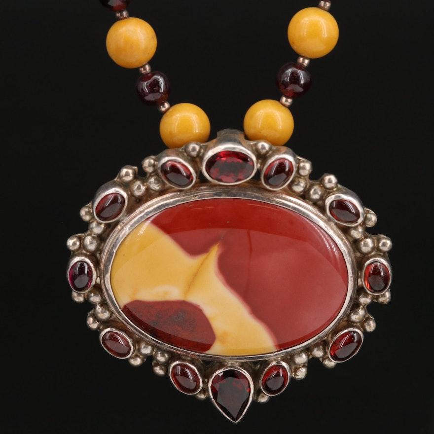 Sterling Silver Jasper and Garnet Pendant Necklace