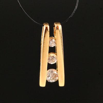 14K Diamond Three Stone Pendant