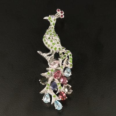 Sterling Tourmaline, Topaz and Diopside Peacock Brooch