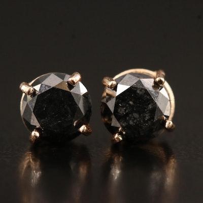 14K Rose Gold 1.30 CTW Black Diamond Stud Earrings