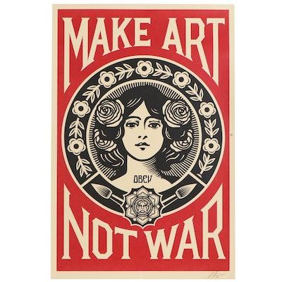 """Shepard Fairey Offset Print """"Make Art Not War"""", 2020"""