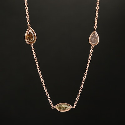 14K Rose Gold 3.50 CTW Diamond Station Necklace