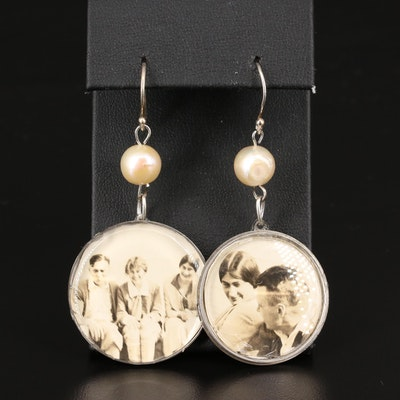 Vintage Photograph Pearl Earrings
