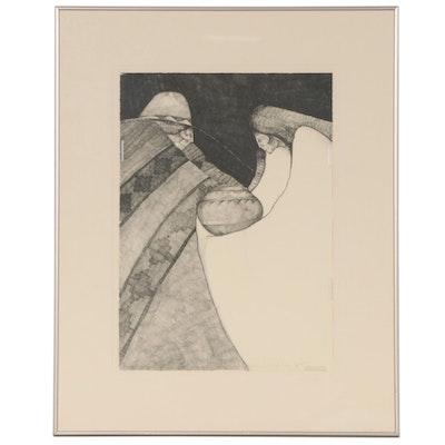 """Amado Maurillo Pena Lithograph """"Dos En Olla,"""" 1989"""