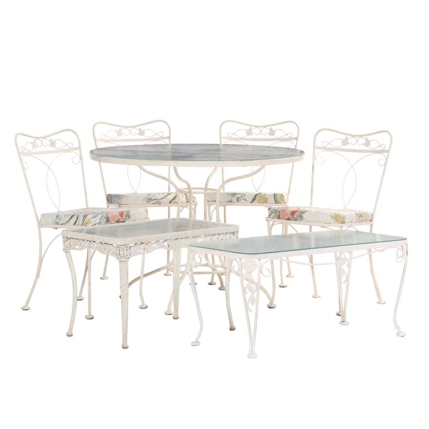 Scrolled Painted Metal Patio Dining Group Including Brown Jordan Table