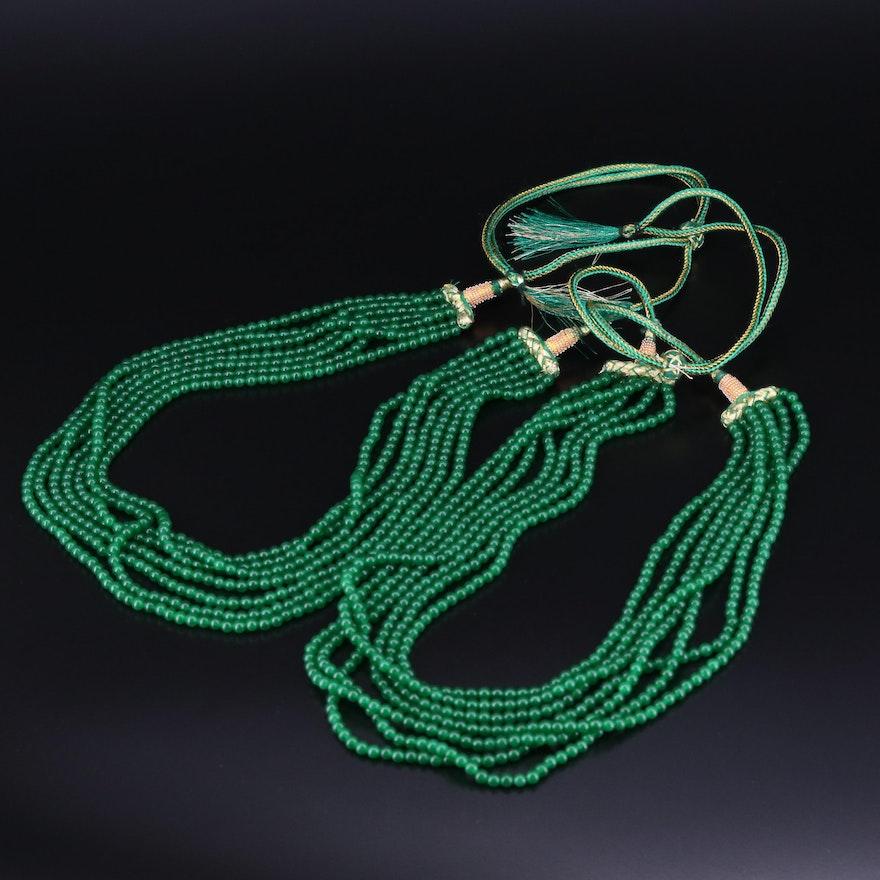 Beaded Quench Crackled Quartz Adjustable Multi-Strand Necklaces
