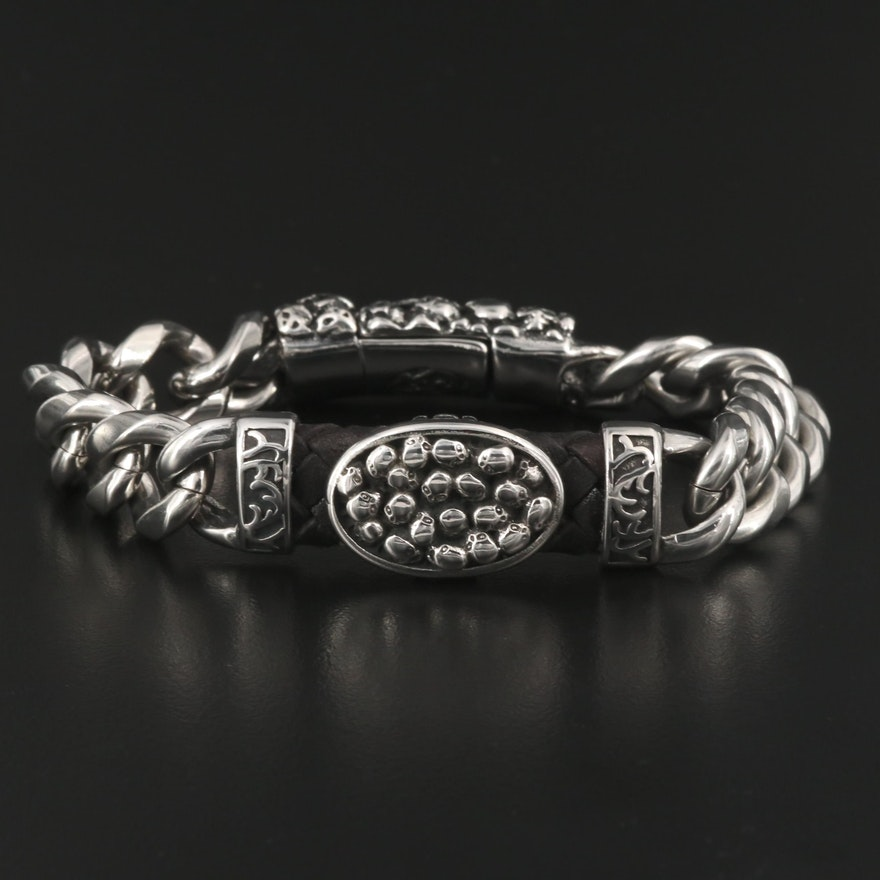 Skull Motif Braided Leather and Metal Bracelet with Magnetic Clasp