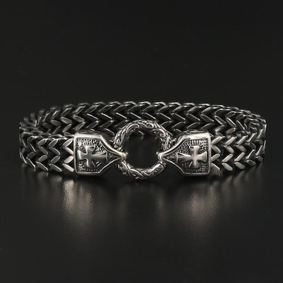 Double Cross and Curb Link Bracelet