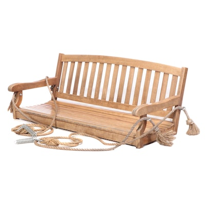 Wooden Slat Porch Bench Swing