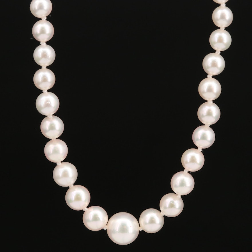 Mikimoto Pearl Graduated Necklace with 18K Clasp