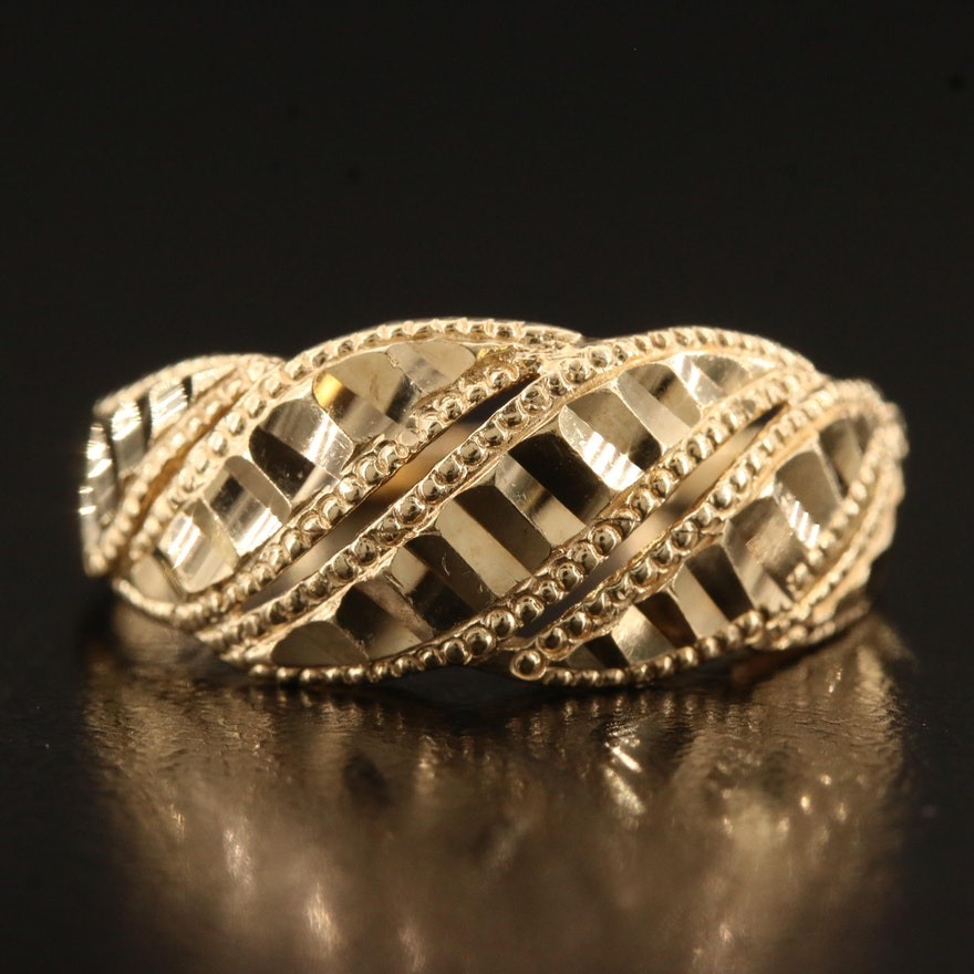 10K Tapered Band with Diamond Cut and Milgrain Detailing