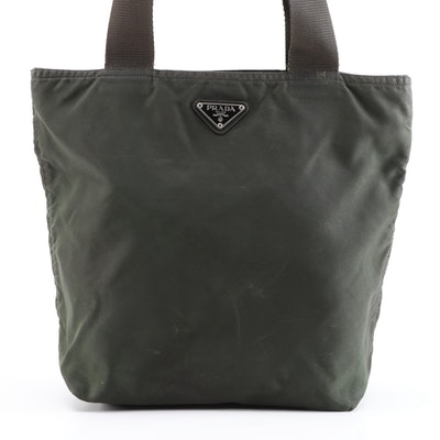 Prada Shoulder Bag in Dark Green Nylon with Brown Trim