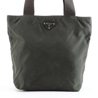 Prada Shoulder Bag in Dark Green Nylon with Brown Trim