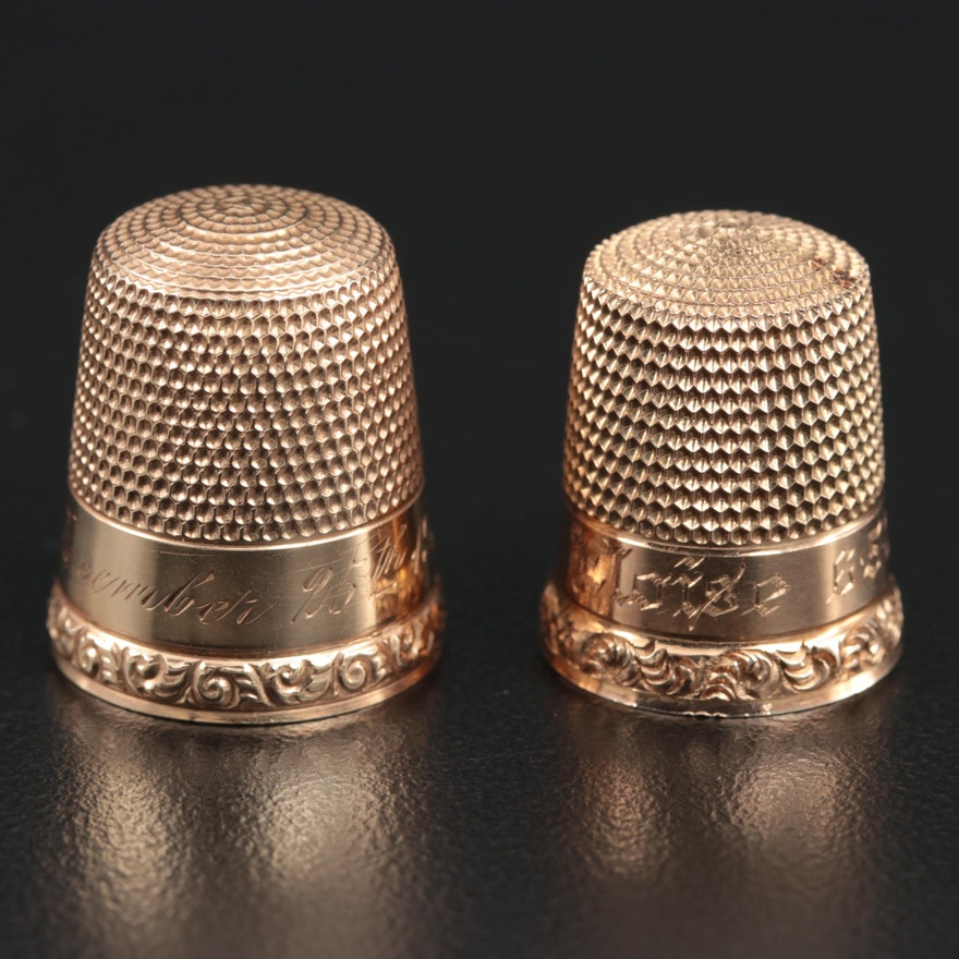 Waite Thresher Co. and Simon Brothers 10K Gold Thimbles, Early 20th Century