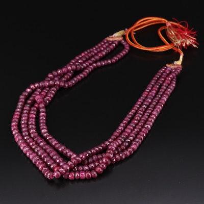 Beaded Corundum Multi-Strand Adjustable Necklace