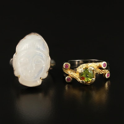 Sterling Carved Moonstone Buddha and Peridot and Ruby Textured Ring